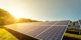 Solar panel on sky sunset generic photo