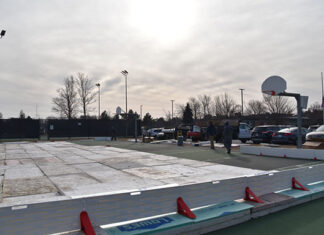 Hopkinton Parks and Rec ice rink outside Hopkinton Middle School