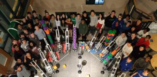 Hopkinton High School robotics team with some students from other area schools