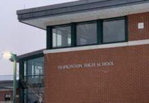 Hopkinton High School building sign