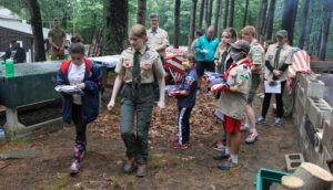 Scouts at flag retirement ceremony